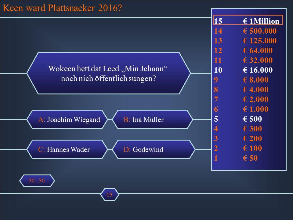 """A: Joachim Wiegand Wokeen hett dat Leed """"Min Jehann noch nich öffentlich sungen."""