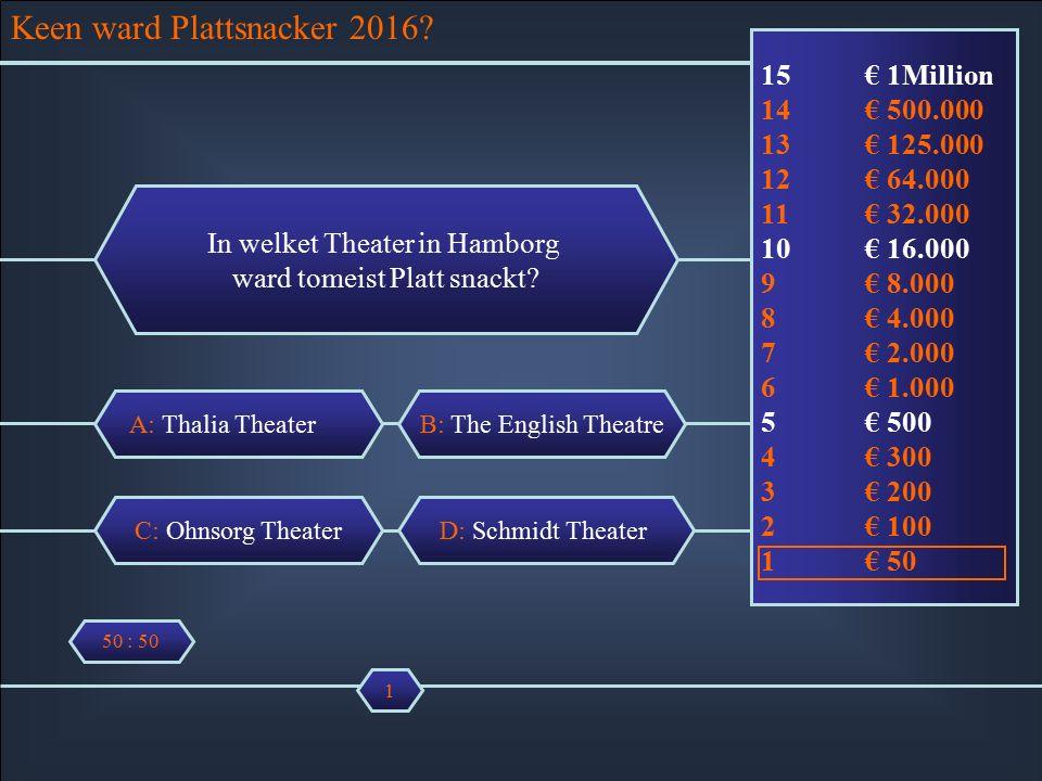 Wer ward Plattsnacker 2016 A: Thalia Theater In welchet Theater in Hamborg wart tau meist Platt snackt.