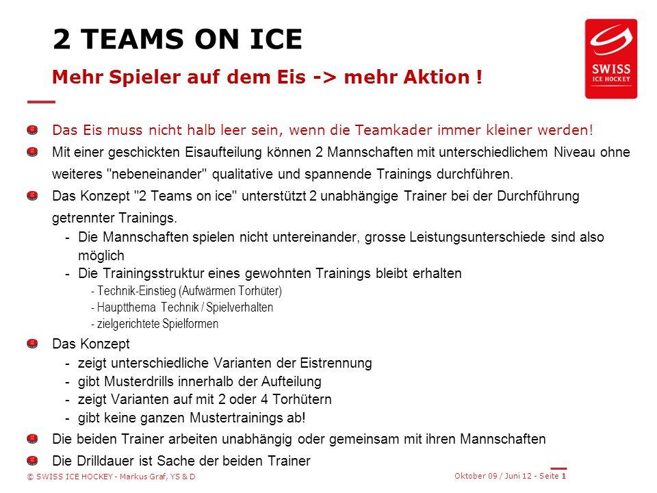 Oktober 09 / Juni 12 - Seite 1 © SWISS ICE HOCKEY - Markus Graf, YS & D 2 TEAMS ON ICE Mehr Spieler auf dem Eis -> mehr Aktion .