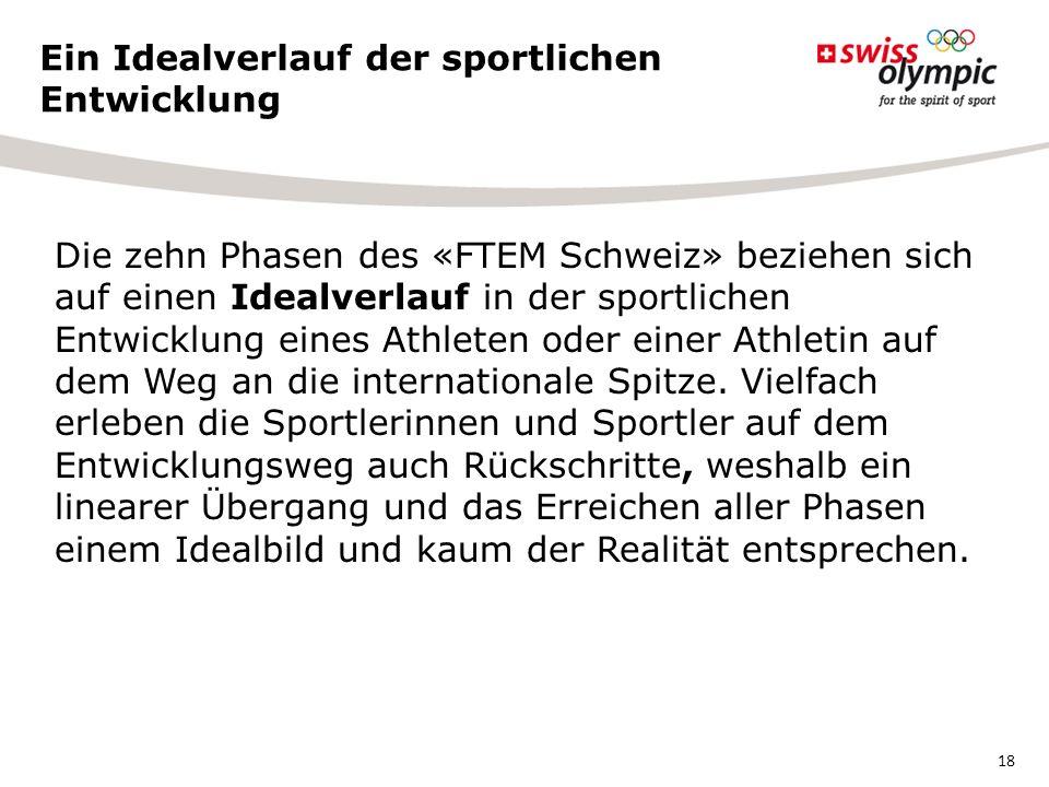 Die zehn Phasen des «FTEM Schweiz» beziehen sich auf einen Idealverlauf in der sportlichen Entwicklung eines Athleten oder einer Athletin auf dem Weg an die internationale Spitze.