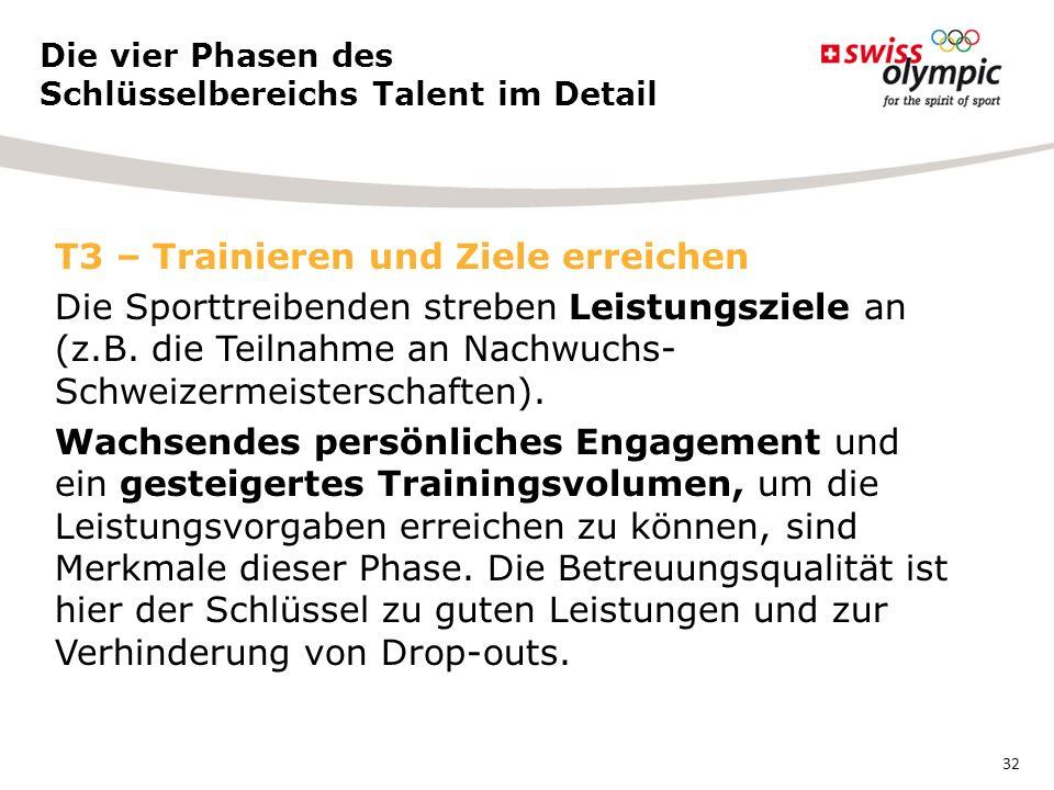T3 – Trainieren und Ziele erreichen Die Sporttreibenden streben Leistungsziele an (z.B.