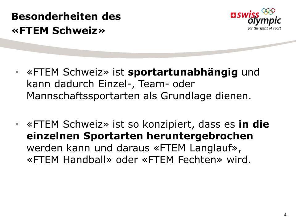«FTEM Schweiz» ist sportartunabhängig und kann dadurch Einzel-, Team- oder Mannschaftssportarten als Grundlage dienen.