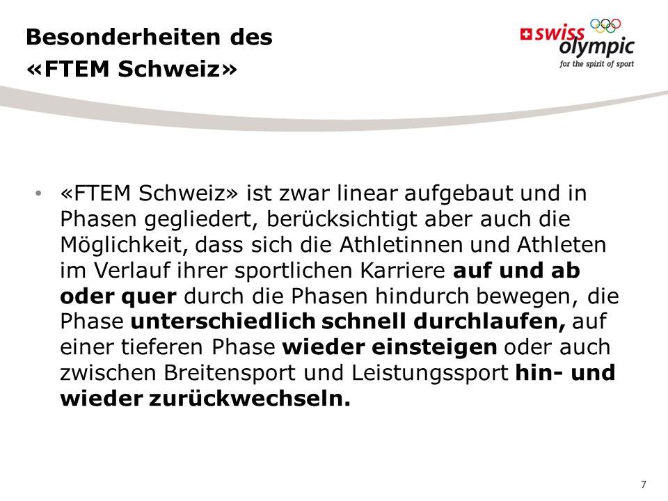 1.Koordination und Systematik der Sportförderung verbessern 2.Niveau im Leistungssport steigern 3.Menschen lebenslang im Sport halten «FTEM Schweiz» verfolgt drei Hauptziele 8
