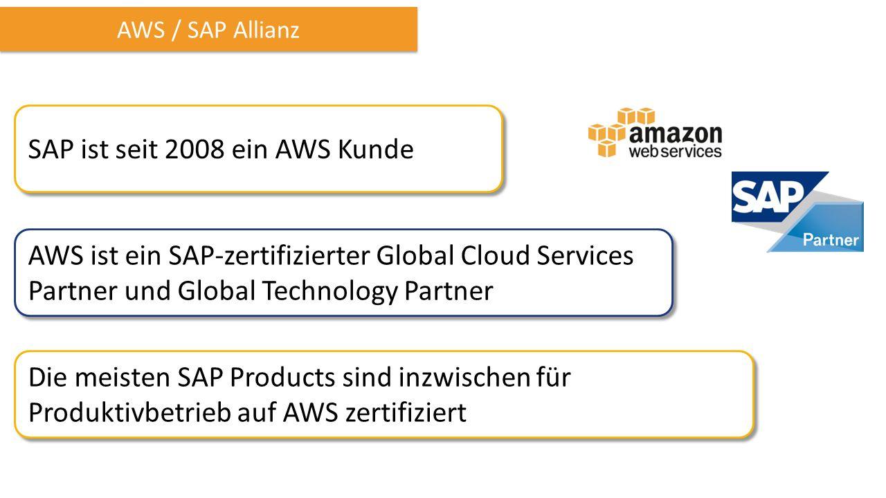 AWS / SAP Allianz SAP ist seit 2008 ein AWS Kunde AWS ist ein SAP-zertifizierter Global Cloud Services Partner und Global Technology Partner Die meisten SAP Products sind inzwischen für Produktivbetrieb auf AWS zertifiziert