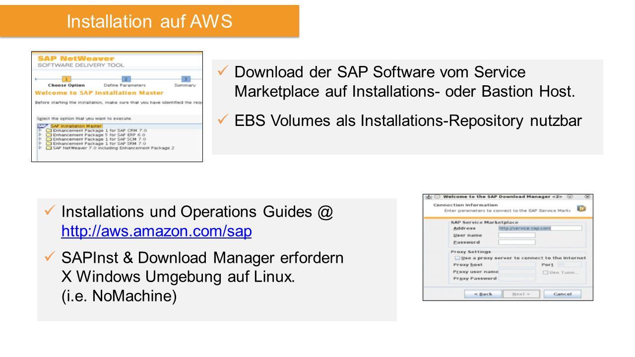 Installation auf AWS Download der SAP Software vom Service Marketplace auf Installations- oder Bastion Host. EBS Volumes als Installations-Repository