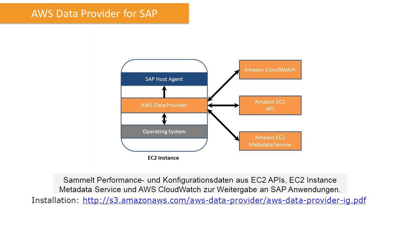 AWS Data Provider for SAP Sammelt Performance- und Konfigurationsdaten aus EC2 APIs, EC2 Instance Metadata Service und AWS CloudWatch zur Weitergabe an SAP Anwendungen.