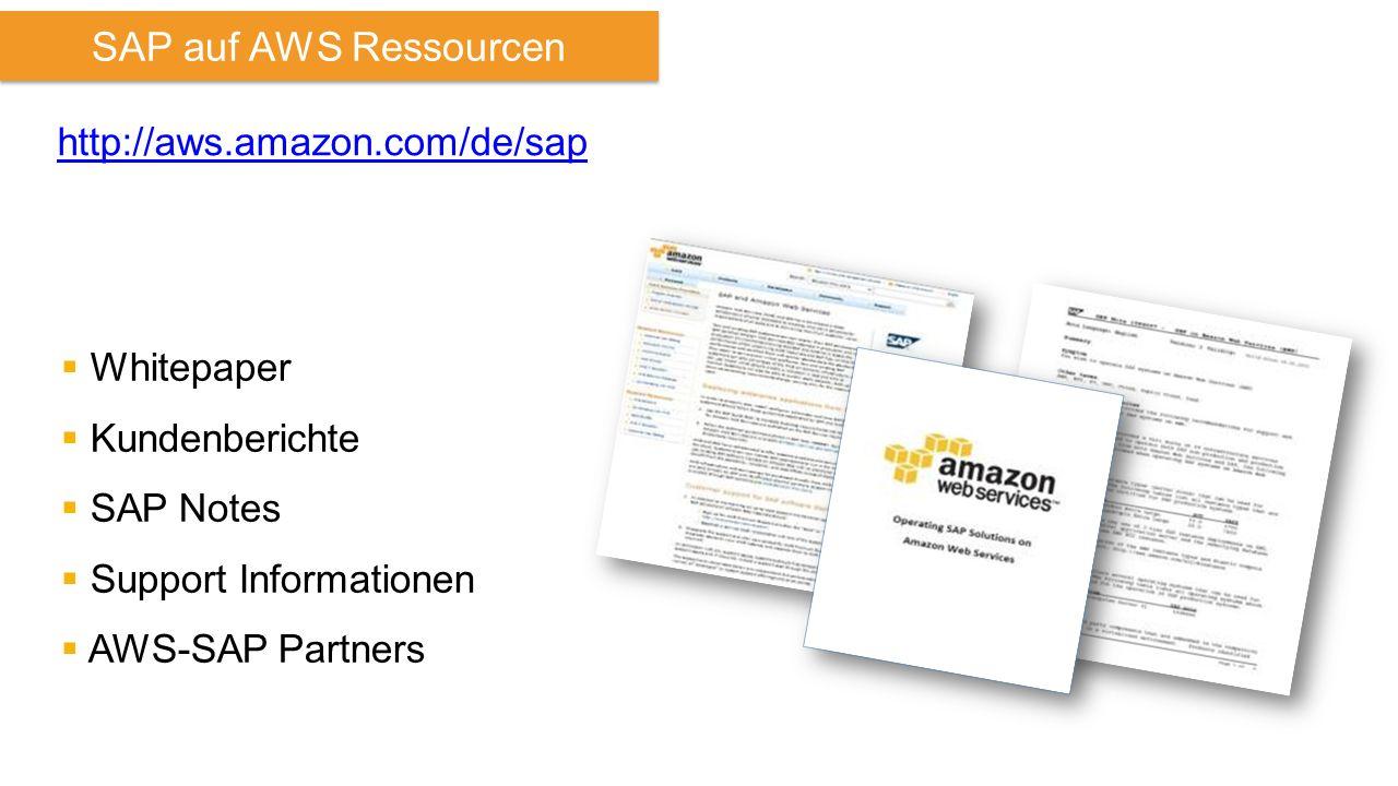 SAP auf AWS Ressourcen http://aws.amazon.com/de/sap  Whitepaper  Kundenberichte  SAP Notes  Support Informationen  AWS-SAP Partners