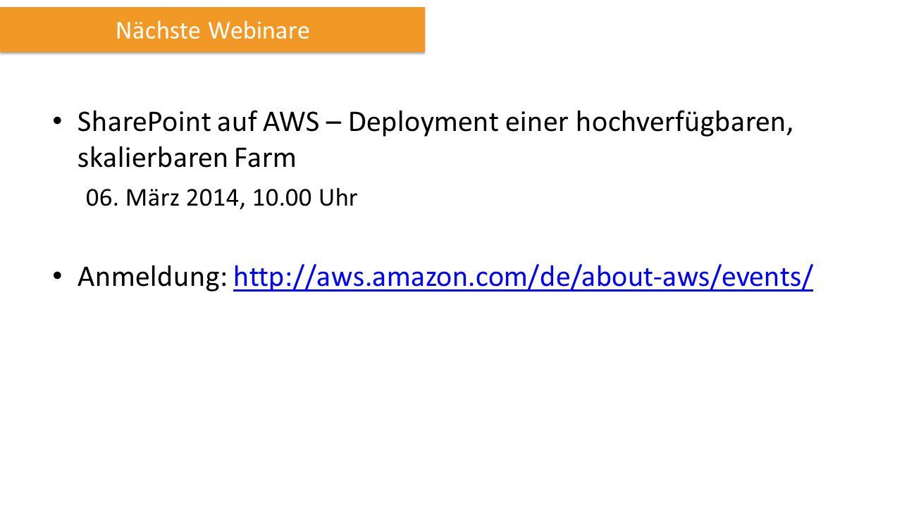 SharePoint auf AWS – Deployment einer hochverfügbaren, skalierbaren Farm 06.