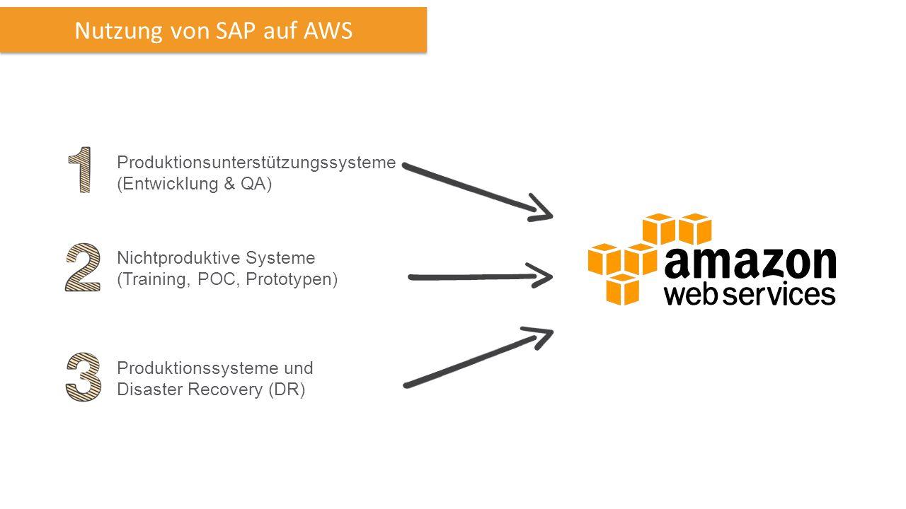 Nichtproduktive Systeme (Training, POC, Prototypen) Produktionssysteme und Disaster Recovery (DR) Produktionsunterstützungssysteme (Entwicklung & QA) Nutzung von SAP auf AWS