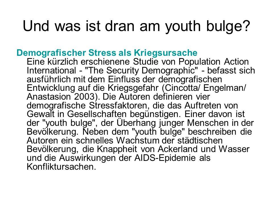 Und was ist dran am youth bulge? Demografischer Stress als Kriegsursache Eine kürzlich erschienene Studie von Population Action International -