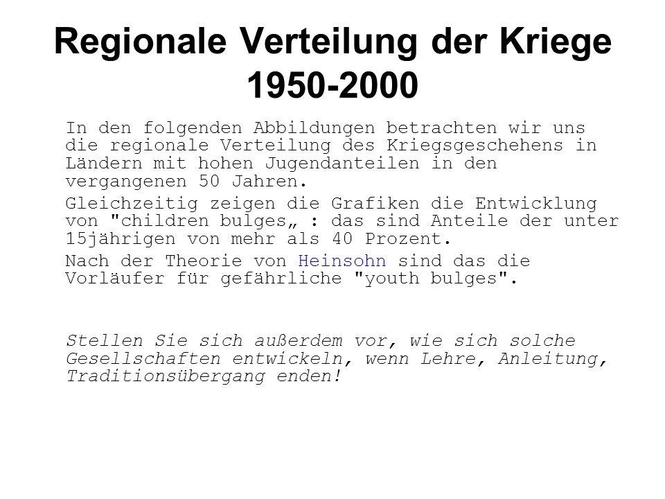 Regionale Verteilung der Kriege 1950-2000 In den folgenden Abbildungen betrachten wir uns die regionale Verteilung des Kriegsgeschehens in Ländern mit hohen Jugendanteilen in den vergangenen 50 Jahren.