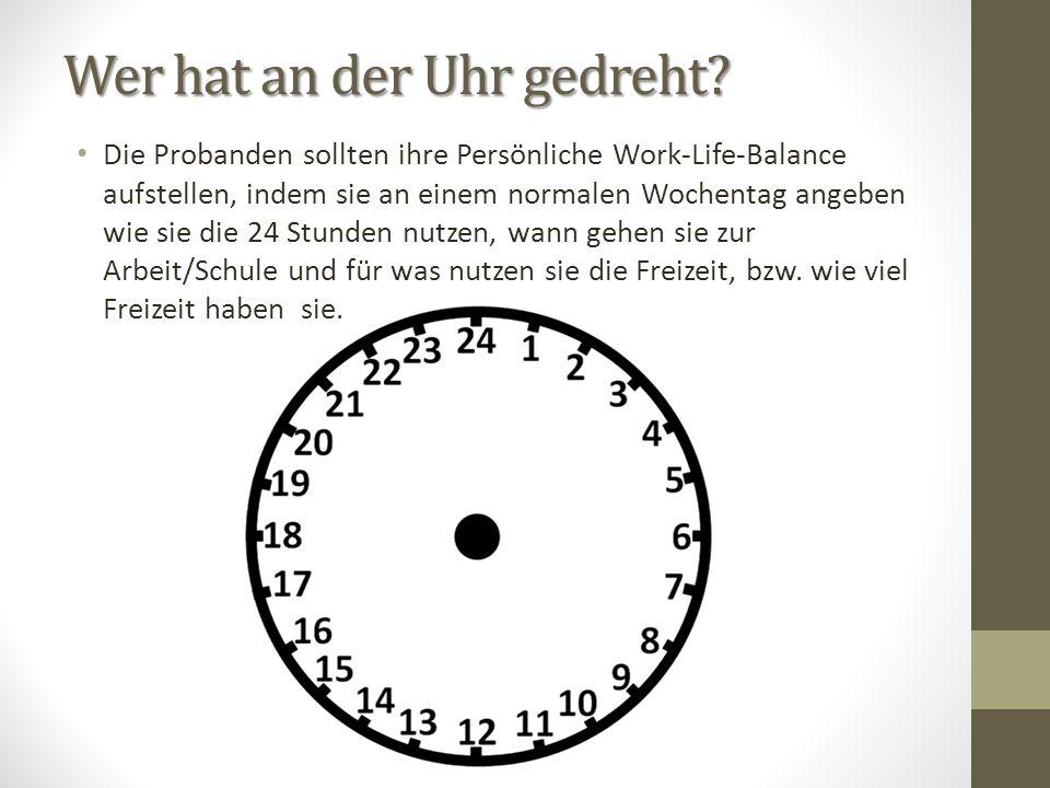 Wer hat an der Uhr gedreht? Die Probanden sollten ihre Persönliche Work-Life-Balance aufstellen, indem sie an einem normalen Wochentag angeben wie sie