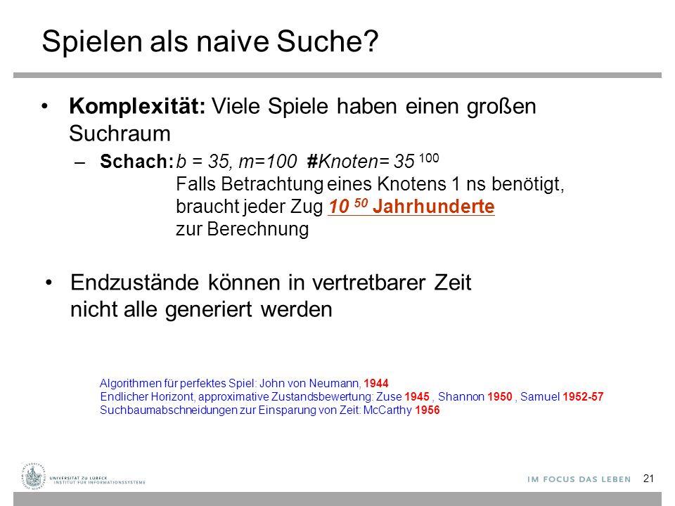 Spielen als naive Suche? Komplexität: Viele Spiele haben einen großen Suchraum –Schach:b = 35, m=100 #Knoten= 35 100 Falls Betrachtung eines Knotens 1