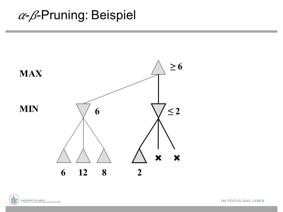 --Pruning: Beispiel ≥ 6 6 MAX 61282 ≤ 2 MIN