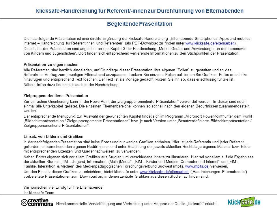 """Nichtkommerzielle Vervielfältigung und Verbreitung unter Angabe der Quelle """"klicksafe"""" erlaubt. klicksafe-Handreichung für Referent/-innen zur Durchfü"""