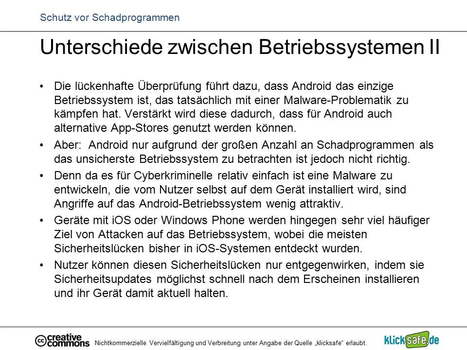 Schutz vor Schadprogrammen Unterschiede zwischen Betriebssystemen II Die lückenhafte Überprüfung führt dazu, dass Android das einzige Betriebssystem i