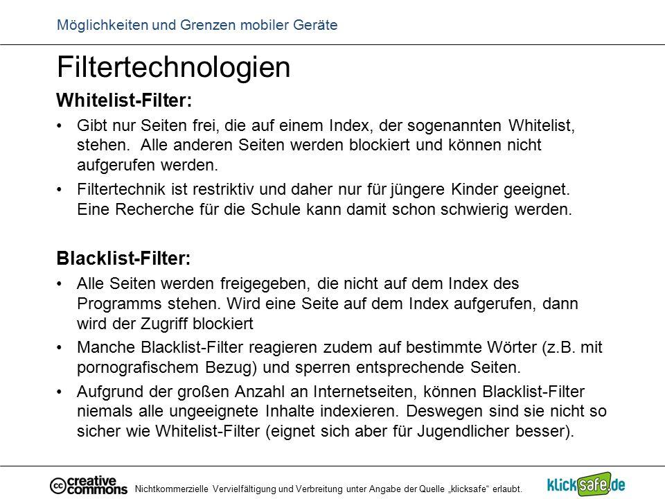 Filtertechnologien Whitelist-Filter: Gibt nur Seiten frei, die auf einem Index, der sogenannten Whitelist, stehen. Alle anderen Seiten werden blockier