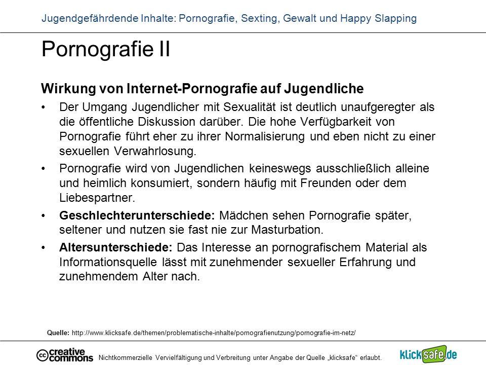 Pornografie II Wirkung von Internet-Pornografie auf Jugendliche Der Umgang Jugendlicher mit Sexualität ist deutlich unaufgeregter als die öffentliche