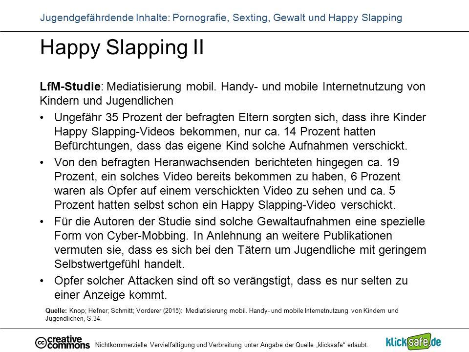 Happy Slapping II LfM-Studie: Mediatisierung mobil. Handy- und mobile Internetnutzung von Kindern und Jugendlichen Ungefähr 35 Prozent der befragten E