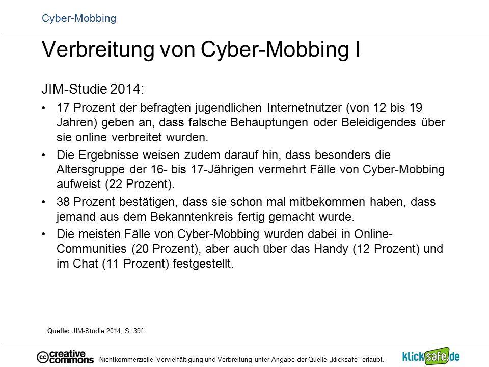 Verbreitung von Cyber-Mobbing I JIM-Studie 2014: 17 Prozent der befragten jugendlichen Internetnutzer (von 12 bis 19 Jahren) geben an, dass falsche Be