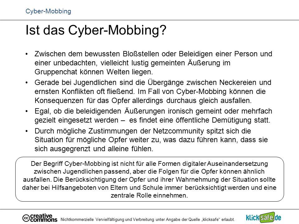Ist das Cyber-Mobbing? Zwischen dem bewussten Bloßstellen oder Beleidigen einer Person und einer unbedachten, vielleicht lustig gemeinten Äußerung im