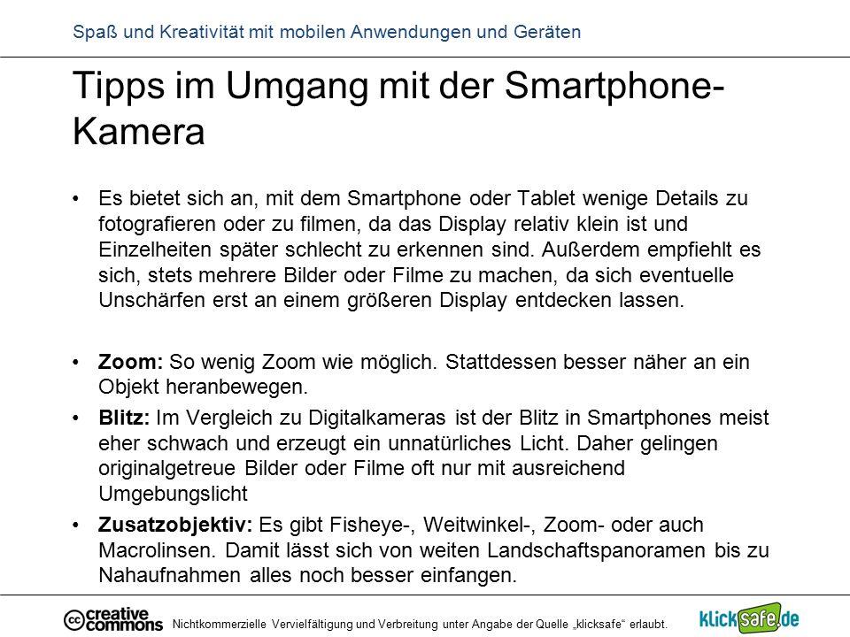 Tipps im Umgang mit der Smartphone- Kamera Es bietet sich an, mit dem Smartphone oder Tablet wenige Details zu fotografieren oder zu filmen, da das Di