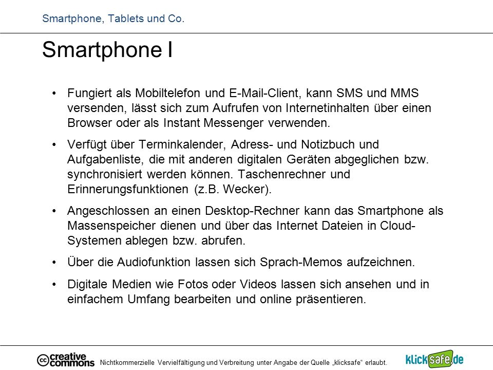 Smartphone, Tablets und Co.