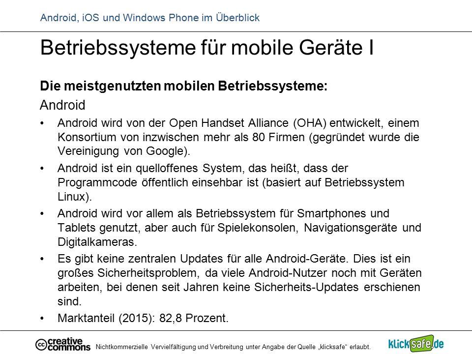 Android, iOS und Windows Phone im Überblick Betriebssysteme für mobile Geräte I Die meistgenutzten mobilen Betriebssysteme: Android Android wird von d
