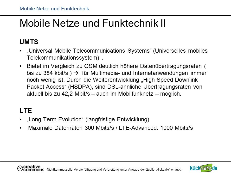 "Mobile Netze und Funktechnik Mobile Netze und Funktechnik II UMTS ""Universal Mobile Telecommunications Systems (Universelles mobiles Telekommunikationssystem)."
