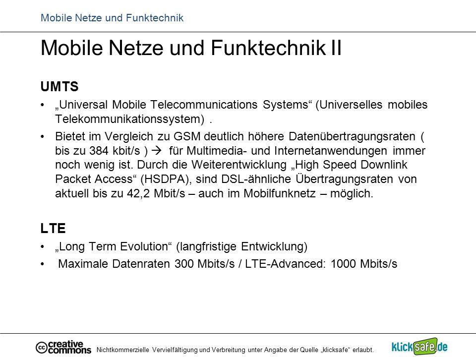 "Mobile Netze und Funktechnik Mobile Netze und Funktechnik II UMTS ""Universal Mobile Telecommunications Systems"" (Universelles mobiles Telekommunikatio"
