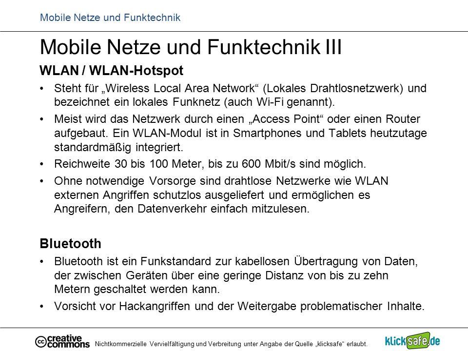 """Mobile Netze und Funktechnik Mobile Netze und Funktechnik III WLAN / WLAN-Hotspot Steht für """"Wireless Local Area Network"""" (Lokales Drahtlosnetzwerk) u"""