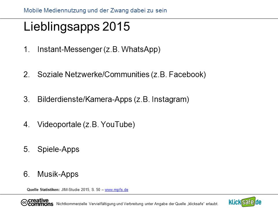 WhatsApp, Facebook & Co.WhatsApp, Facebook und Co.