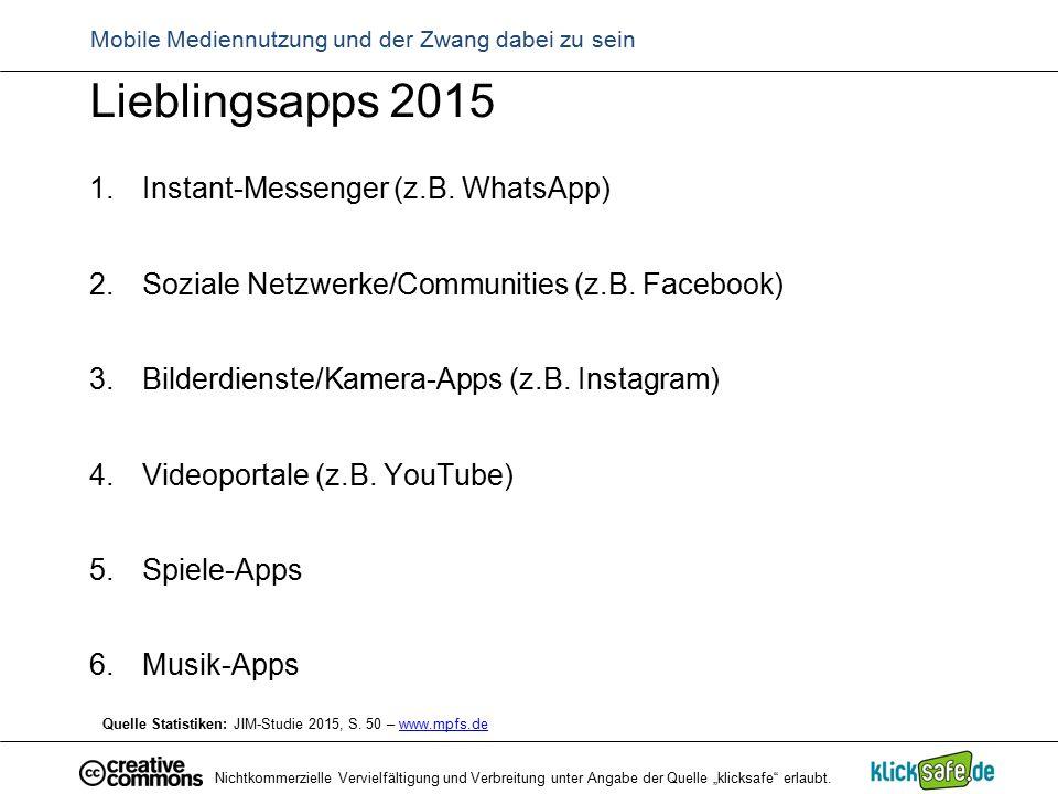 """Nichtkommerzielle Vervielfältigung und Verbreitung unter Angabe der Quelle """"klicksafe"""" erlaubt. Lieblingsapps 2015 1.Instant-Messenger (z.B. WhatsApp)"""