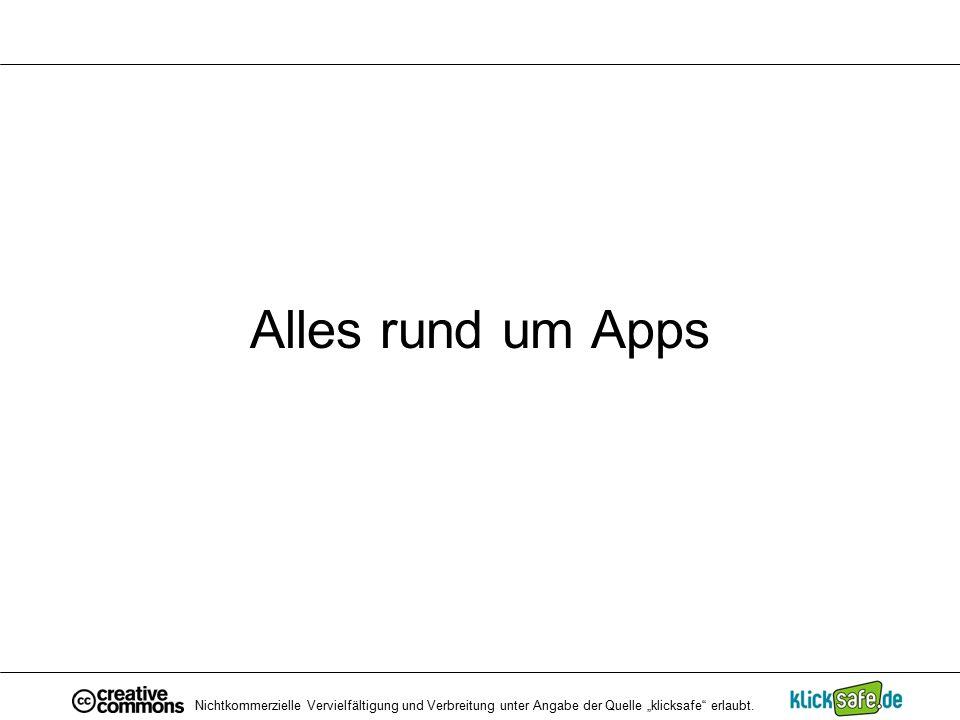 """Alles rund um Apps Nichtkommerzielle Vervielfältigung und Verbreitung unter Angabe der Quelle """"klicksafe"""" erlaubt."""