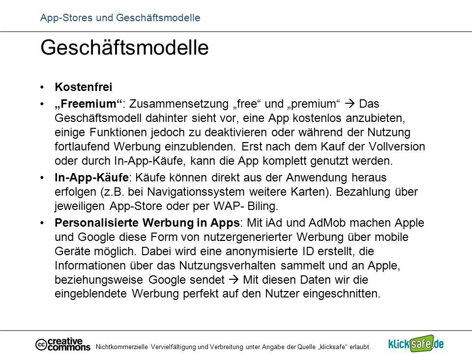 """App-Stores und Geschäftsmodelle Geschäftsmodelle Kostenfrei """"Freemium"""": Zusammensetzung """"free"""" und """"premium""""  Das Geschäftsmodell dahinter sieht vor,"""