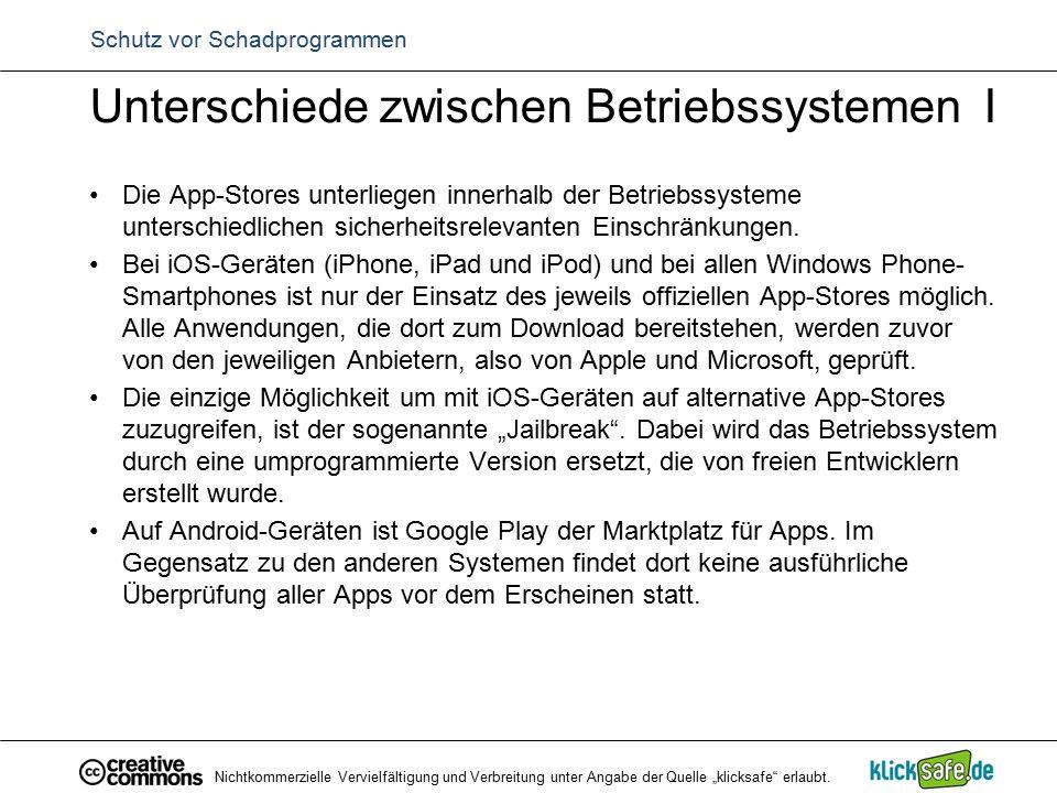 Schutz vor Schadprogrammen Unterschiede zwischen Betriebssystemen I Die App-Stores unterliegen innerhalb der Betriebssysteme unterschiedlichen sicherh