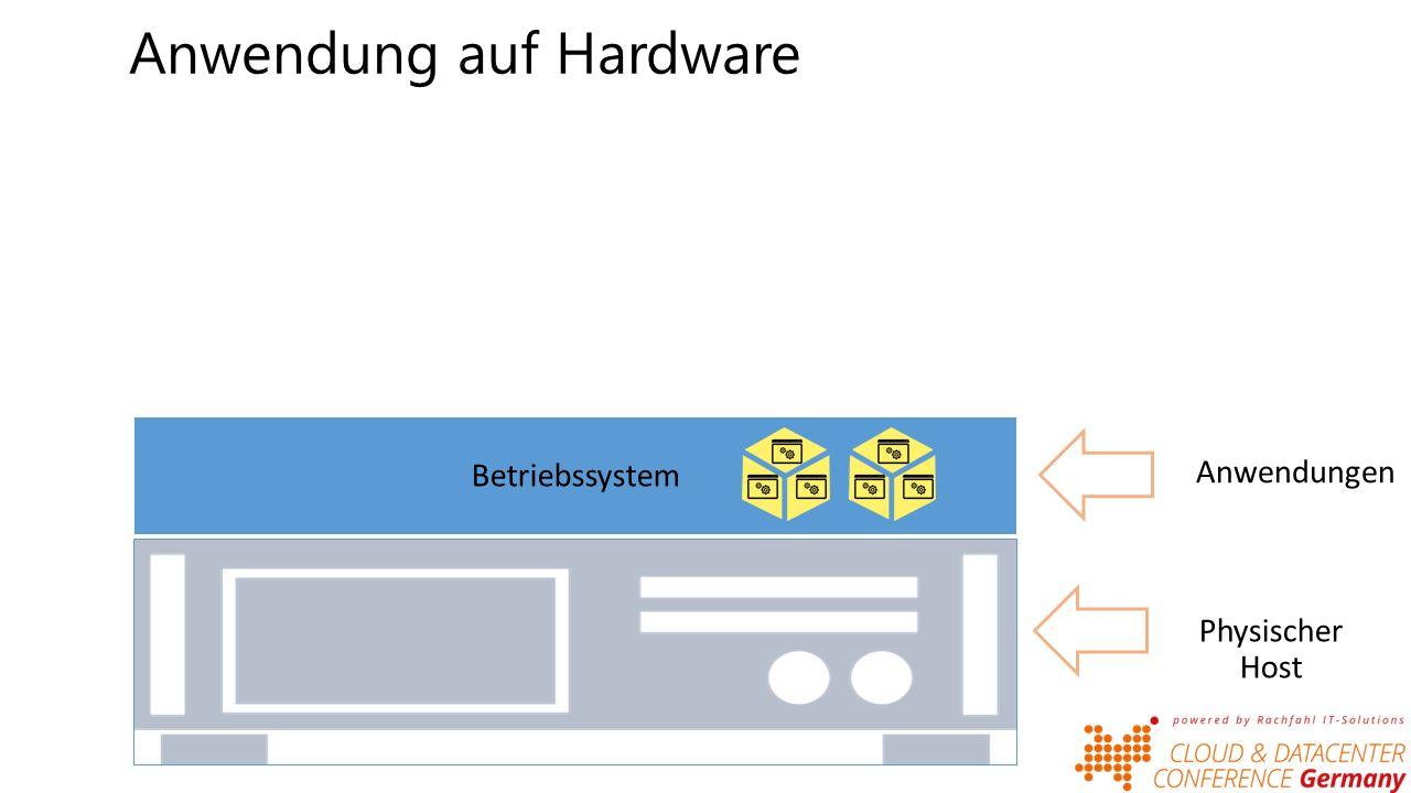 Anwendung in VMs Betriebssystem Anwendungen Virtuelle Machine(n) Betriebssystem