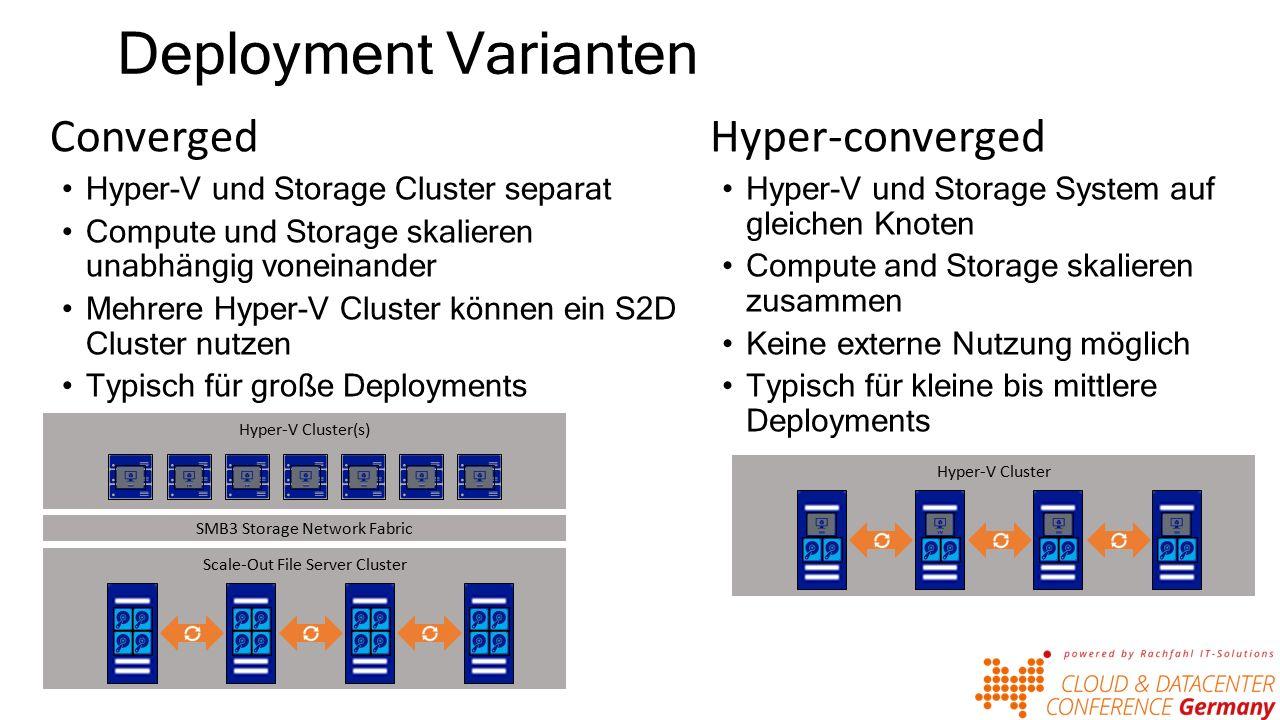 Deployment Varianten Converged Hyper-V und Storage Cluster separat Compute und Storage skalieren unabhängig voneinander Mehrere Hyper-V Cluster können ein S2D Cluster nutzen Typisch für große Deployments Scale-Out File Server Cluster Hyper-V Cluster(s) SMB3 Storage Network Fabric Hyper-converged Hyper-V und Storage System auf gleichen Knoten Compute and Storage skalieren zusammen Keine externe Nutzung möglich Typisch für kleine bis mittlere Deployments Hyper-V Cluster