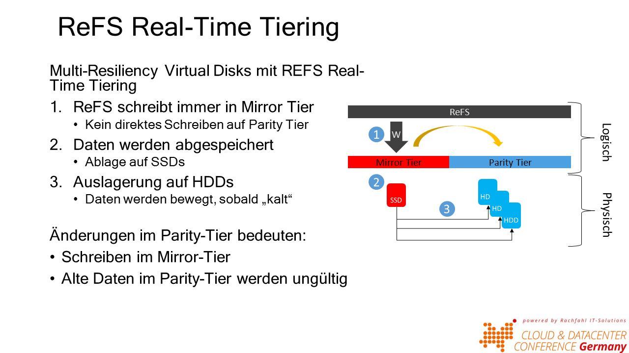 """ReFS Real-Time Tiering Multi-Resiliency Virtual Disks mit REFS Real- Time Tiering 1.ReFS schreibt immer in Mirror Tier Kein direktes Schreiben auf Parity Tier 2.Daten werden abgespeichert Ablage auf SSDs 3.Auslagerung auf HDDs Daten werden bewegt, sobald """"kalt Änderungen im Parity-Tier bedeuten: Schreiben im Mirror-Tier Alte Daten im Parity-Tier werden ungültig Mirror TierParity Tier W ReFS"""