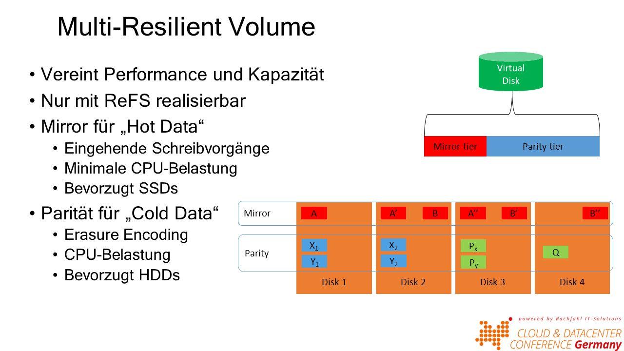 """Multi-Resilient Volume Vereint Performance und Kapazität Nur mit ReFS realisierbar Mirror für """"Hot Data Eingehende Schreibvorgänge Minimale CPU-Belastung Bevorzugt SSDs Parität für """"Cold Data Erasure Encoding CPU-Belastung Bevorzugt HDDs Mirror tierParity tier Disk 2Disk 3Disk 4Disk 1 AA'A''BB'B'' Mirror Parity X1X1 X2X2 PxPx Y1Y1 Y2Y2 PyPy Q"""