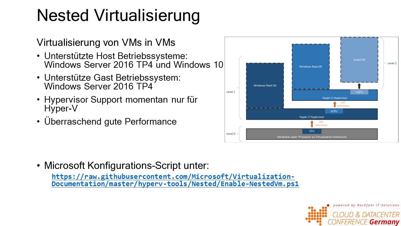 Nested Virtualisierung Virtualisierung von VMs in VMs Unterstützte Host Betriebssysteme: Windows Server 2016 TP4 und Windows 10 Unterstütze Gast Betriebssystem: Windows Server 2016 TP4 Hypervisor Support momentan nur für Hyper-V Überraschend gute Performance Microsoft Konfigurations-Script unter: https://raw.githubusercontent.com/Microsoft/Virtualization- Documentation/master/hyperv-tools/Nested/Enable-NestedVm.ps1