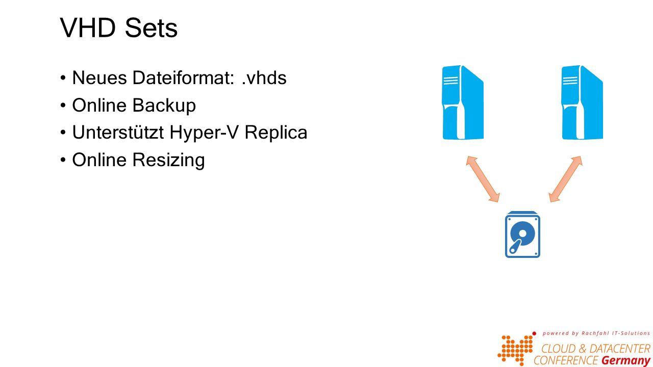 VHD Sets Neues Dateiformat:.vhds Online Backup Unterstützt Hyper-V Replica Online Resizing