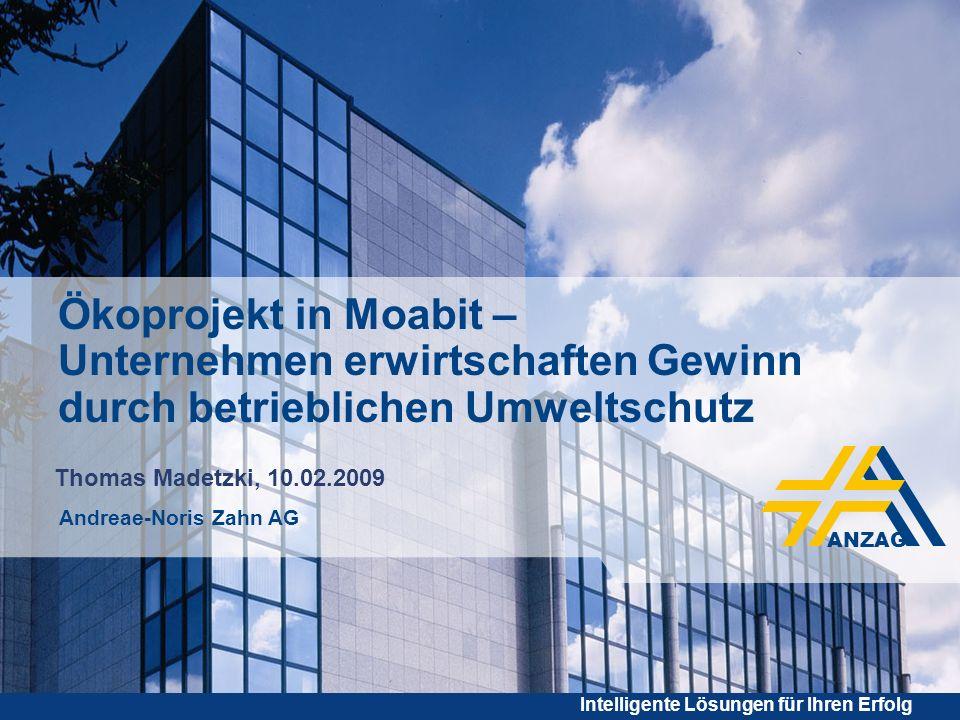 - 12 - Intelligente Lösungen für Ihren Erfolg Thomas Madetzki ANZAG BERLIN Februar 2009 Ökoprojekt Moabit Momentaner Stand Förderung ÖKOPROFIT in Berlin.