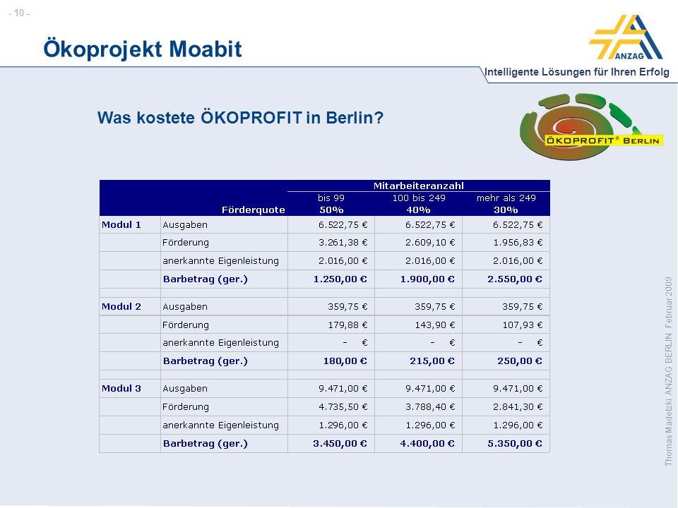 - 10 - Intelligente Lösungen für Ihren Erfolg Thomas Madetzki ANZAG BERLIN Februar 2009 Ökoprojekt Moabit Was kostete ÖKOPROFIT in Berlin