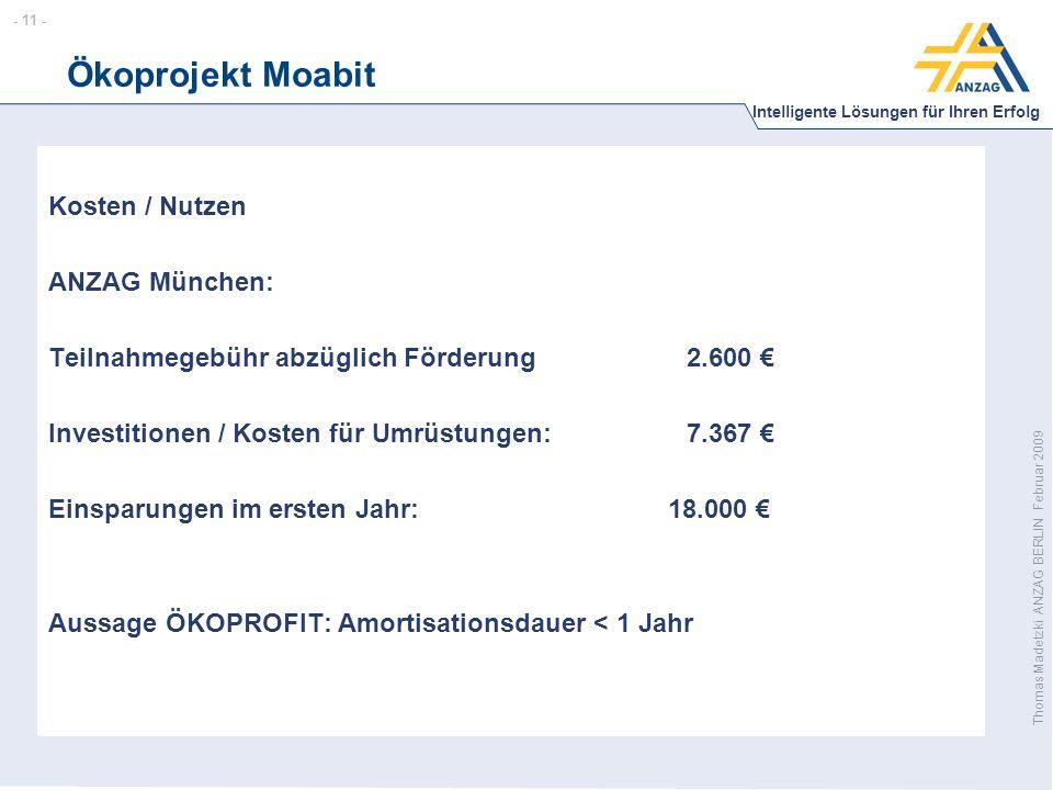 - 11 - Intelligente Lösungen für Ihren Erfolg Thomas Madetzki ANZAG BERLIN Februar 2009 Ökoprojekt Moabit Kosten / Nutzen ANZAG München: Teilnahmegebühr abzüglich Förderung2.600 € Investitionen / Kosten für Umrüstungen:7.367 € Einsparungen im ersten Jahr: 18.000 € Aussage ÖKOPROFIT: Amortisationsdauer < 1 Jahr