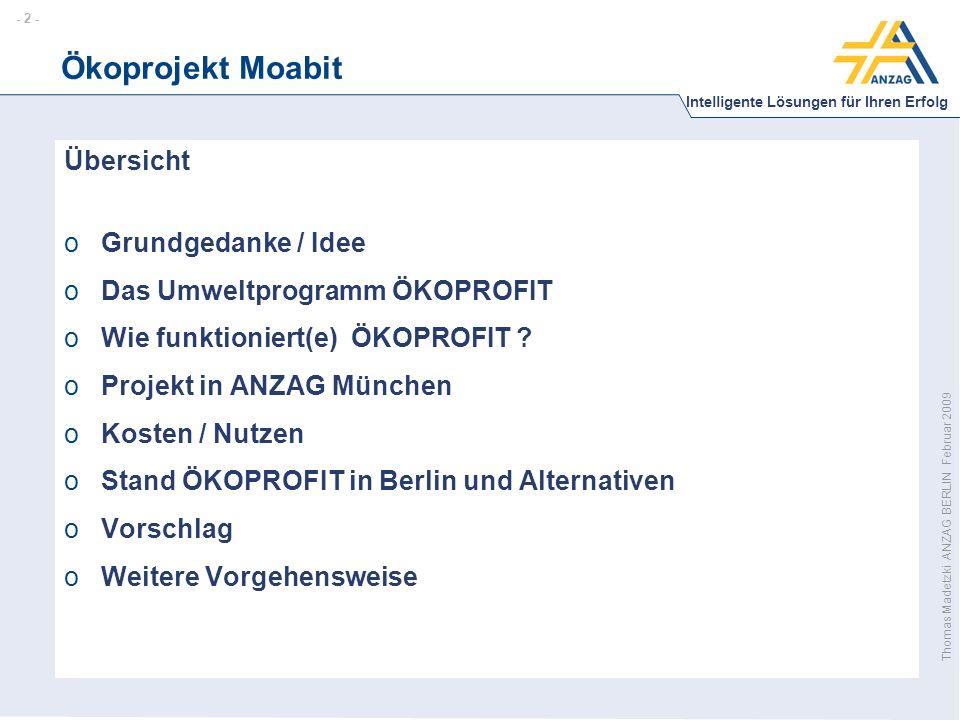 - 13 - Intelligente Lösungen für Ihren Erfolg Thomas Madetzki ANZAG BERLIN Februar 2009 Ökoprojekt Moabit Vorschlag: 1.Durchführung eines Umweltprojektes in Moabit in Anlehnung an ÖKOPROFIT 2.Kommunikation zur Imagebildung Moabit + =