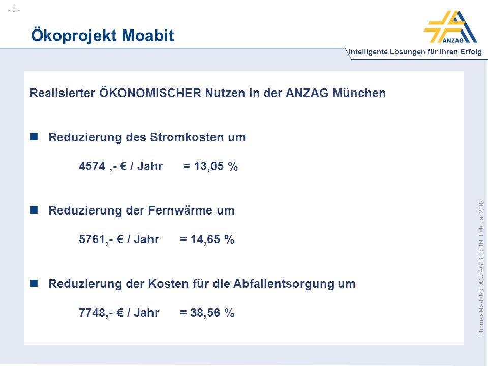 - 8 - Intelligente Lösungen für Ihren Erfolg Thomas Madetzki ANZAG BERLIN Februar 2009 Ökoprojekt Moabit Realisierter ÖKONOMISCHER Nutzen in der ANZAG München Reduzierung des Stromkosten um 4574,- € / Jahr = 13,05 % Reduzierung der Fernwärme um 5761,- € / Jahr = 14,65 % Reduzierung der Kosten für die Abfallentsorgung um 7748,- € / Jahr = 38,56 %