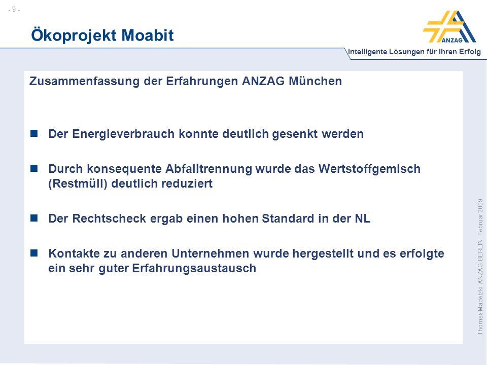 - 10 - Intelligente Lösungen für Ihren Erfolg Thomas Madetzki ANZAG BERLIN Februar 2009 Ökoprojekt Moabit Was kostete ÖKOPROFIT in Berlin?