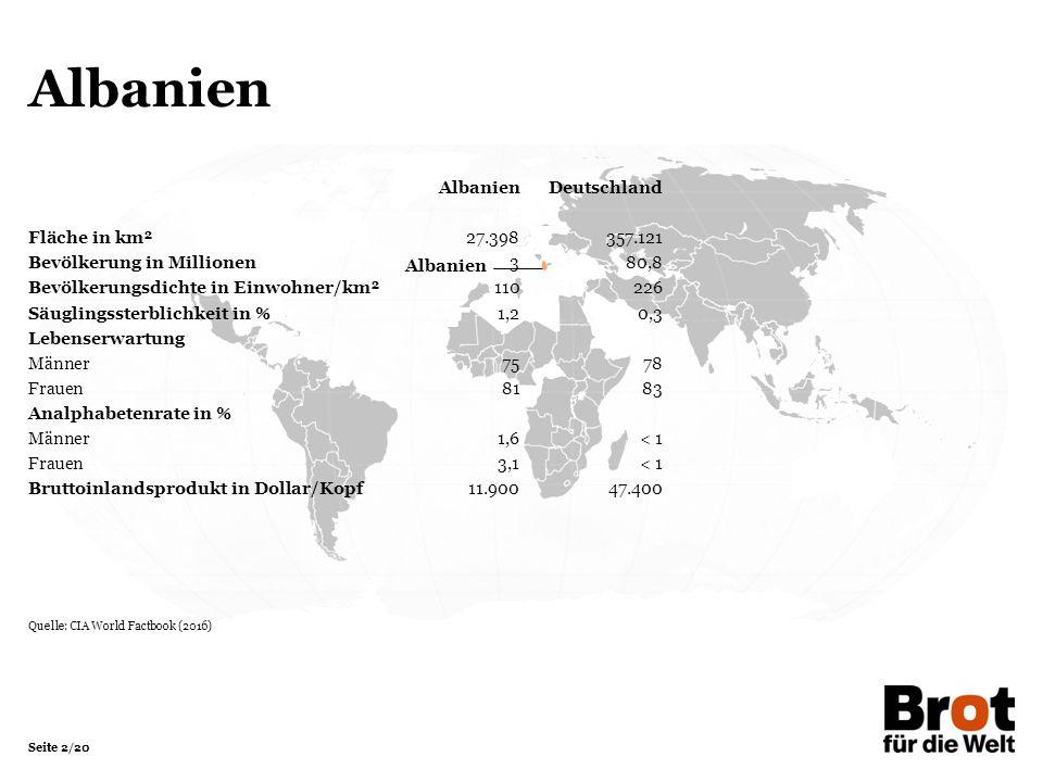Seite 2/20 Albanien AlbanienDeutschland Fläche in km²27.398357.121 Bevölkerung in Millionen 380,8 Bevölkerungsdichte in Einwohner/km²110226 Säuglingss