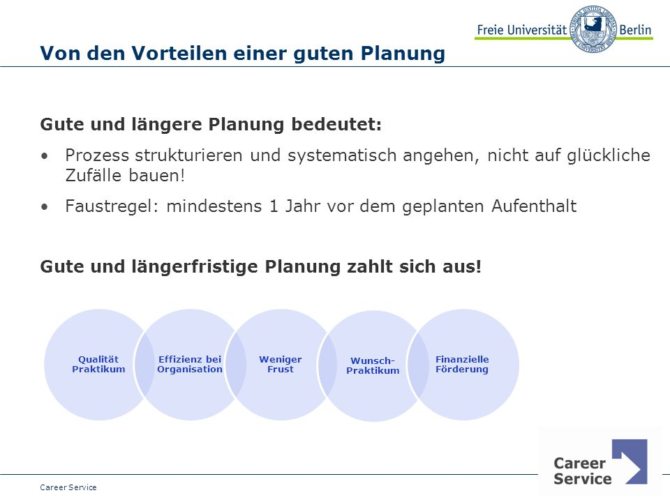 Date Von den Vorteilen einer guten Planung Gute und längere Planung bedeutet: Prozess strukturieren und systematisch angehen, nicht auf glückliche Zufälle bauen.